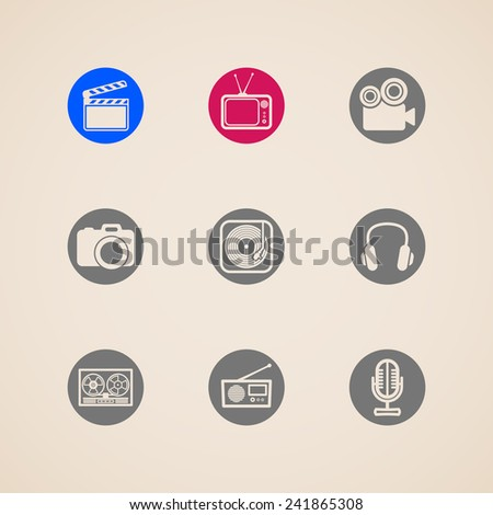 flat icons for web and mobile applications with creative industry items  - stock photo