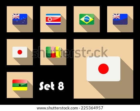 Flat icons of Australia, Japan, Brazil, New Zealand, Korea Republic, Ghana and Cameroon flags
