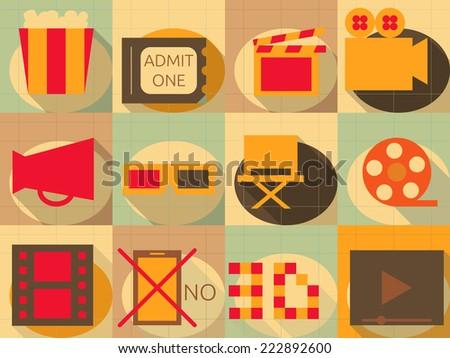 Flat Icons Set - Movie in Retro Style - Infographics Design. Illustrations - stock photo