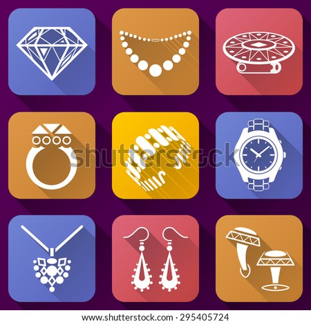 Flat icons set of jewelry elements. Collection of color icons for luxury industry. Qualitative graphic symbols about jewellery, accessories, fashion, luxury, precious metal wares, etc - stock photo