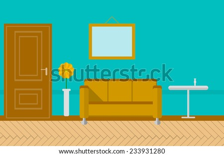 Flat illustration for sitting-room. Sitting room or lounge with blue wall with picture, brown door, sofa, journal table and vase with yellow flower. Flat colored illustration. - stock photo