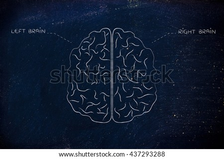 flat illustration of a brain with left and right caption