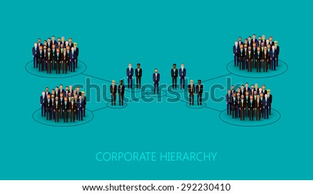flat illustration of a corporate hierarchy structure. a crowd of men (business men or politicians) wearing suits and ties. leadership concept. management and staff organization - stock photo