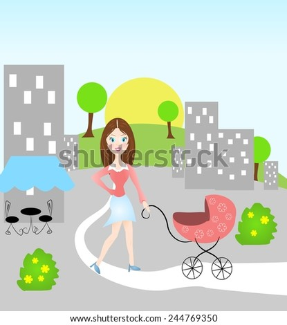 Flat illustration of woman with baby carriage in city - stock photo