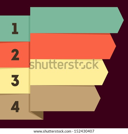 Flat infographic with numbered colorful ribbon pointers