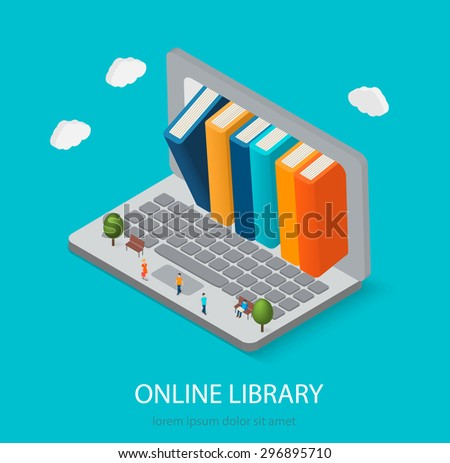Flat isometric online books shop, digital library concept. Laptop computer with books inside, illustration. Little people reading books. - stock photo