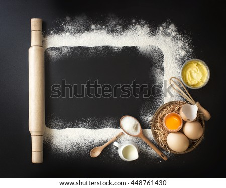 Flat lay baking utensils and ingredient on black background, Frame border design text space images.
