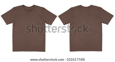 Flat Lay Down Isolated Image of T-Shirt Front and Back View in Brown Heather - stock photo