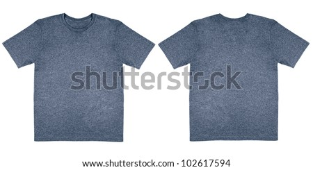 Flat Lay Down Isolated Image of T-Shirt Front and Back View in Denim Blue Heather - stock photo