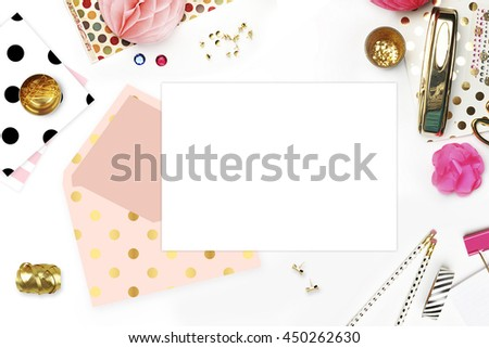 Flat lay. Feminine scene. Wedding background. Mock-up for your photo or text Place your work. Woman desktop, template card, Peonies and gold stationery. Gold Polka. Header website or Hero website.