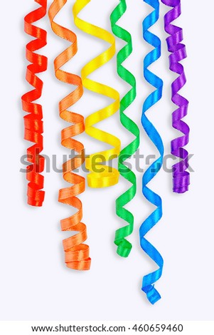 flat lay of creative concept gay culture symbol with ribbons, sign gay LGBT community on white background, close up