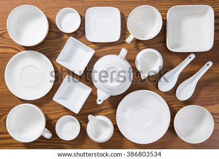 Flat lay of white porcelain - stock photo