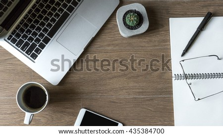 Flat Lay Work Desk Laptop Coffee Stock Photo Safe to Use 435384700