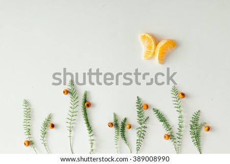 Flat lay setup made of tangerine and green grass on white background. - stock photo