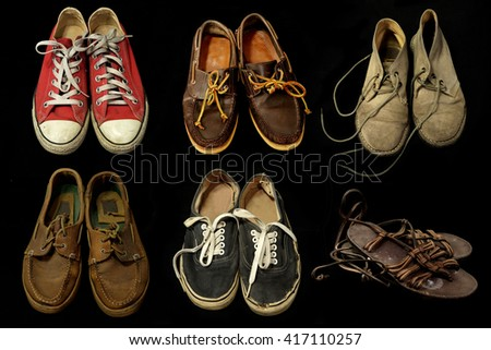 Flat lay  shoes on balck background