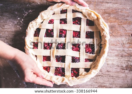 Flat lay shot of Delicious Homemade Cherry Pie Ready To be Baked  - stock photo