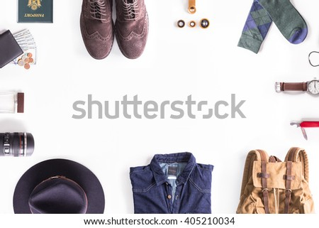 Flat lay shot of man's style guide. Traveler accessories. Still life - stock photo
