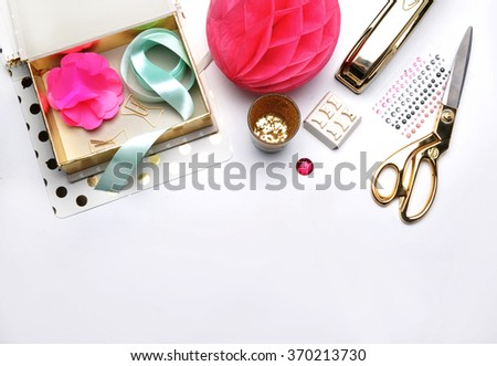Flat lay. Stationery golden. Background mock up. Hero and header for site - stock photo