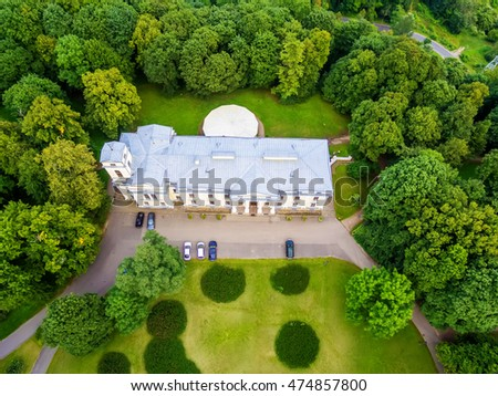 Flat lay, top view of Verkiai palace in Vilnius, Lithuania