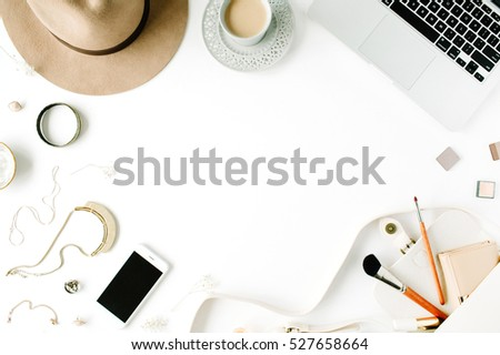 Flat Lay Trendy Feminine Home Office Workspace Frame Laptop Coffee Cup Phone