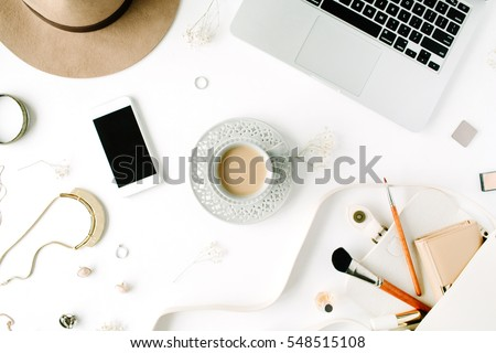 Flat Lay Trendy Feminine Home Office Workspace. Laptop, Coffee Cup, Phone,  Purse Part 73