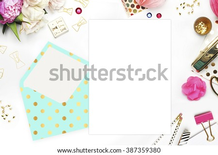 Flat lay. White background. Woman desktop, template card, Mock up for your photo or text Place your work. Peonies and gold stationery. Gold Polka. Header website or Hero website - stock photo