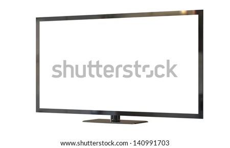flat led television screen isolated on white