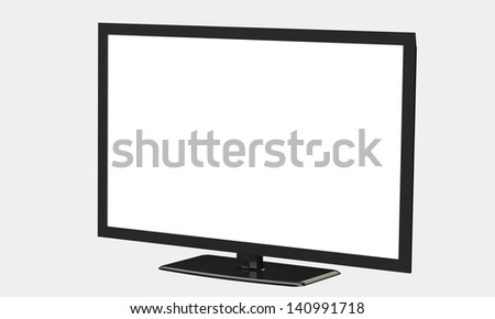flat led television screen isolated on white - stock photo