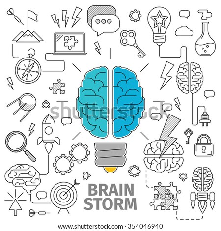 Flat Line Art concept of a brainstorm. Innovation and solution. business idea, Planning, distribution, setting goals, organizing, drawing up lists and prioritizing - stock photo