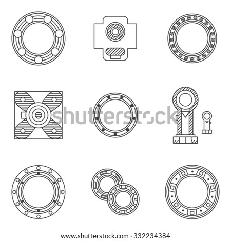 Flat line design icons for set of different types bearings. Ball, radial, roller and other types bearings for mechanism components - stock photo