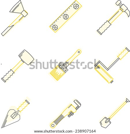 Flat line icons for woodwork tools. Flat line colored icons set for construction or repair woodwork and hand tools on white background. - stock photo
