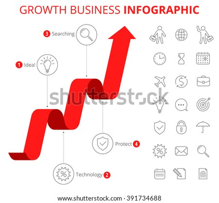 Flat line infographic elements. Upward red arrow and icons represent process of increase business. Illustration of growth arrow and business icon set isolated on white background. - stock photo