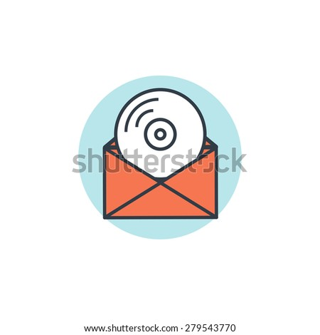 Flat lined compact disk icon. Email icon. Media sharing - stock photo