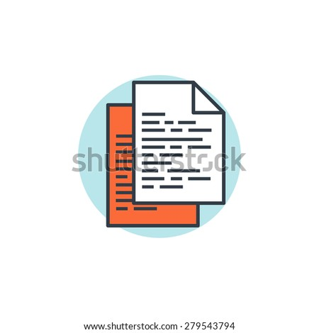 Flat lined template icon. program code. Programming and coding. - stock photo