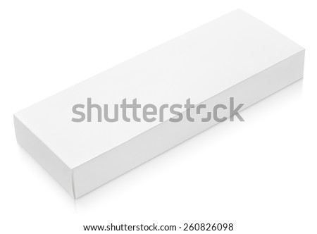 Flat long paper or cardboard box template for chocolate isolated on white background - stock photo
