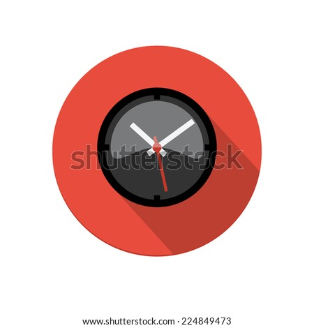 Flat long shadow dark clock icon isolated on white background