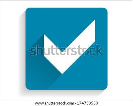Flat long shadow icon of check box - stock photo