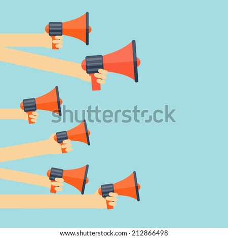 Flat loudspeaker icon. Administrative management concept. Global communication and social media. - stock photo