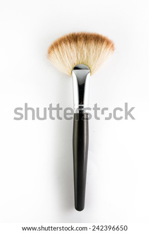 Flat make up blush brush, isolated on white backgrownd. - stock photo