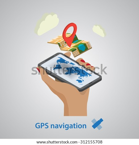 Flat map mobile GPS navigation infographic 3d isometric concept.  - stock photo