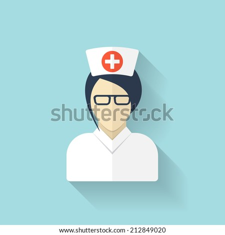 Flat medical doctor icon. Account profile avatar. Health care. - stock photo