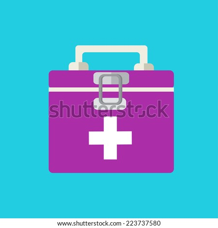flat medicine chest background. illustration concept - stock photo