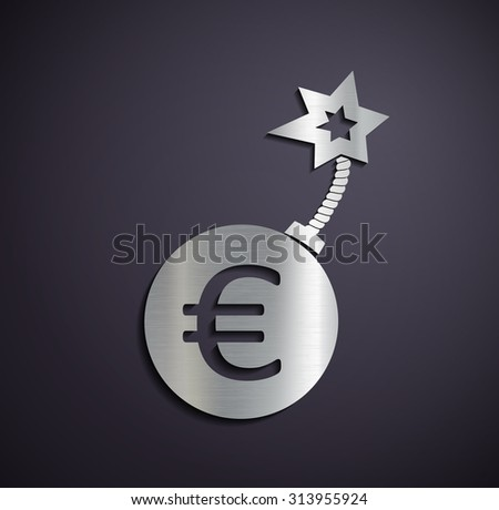 Flat metallic logo euro sign. Stock image. - stock photo