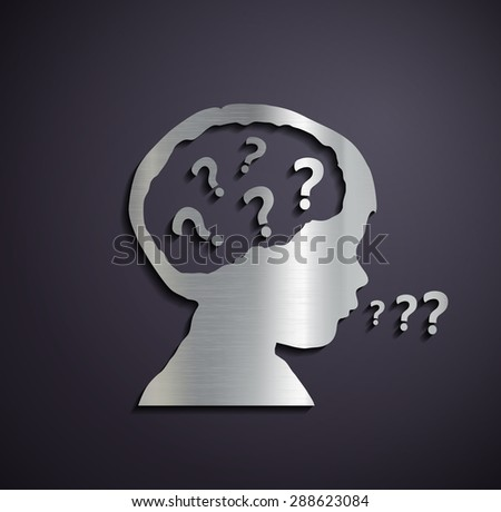 Flat metallic logo of children's heads with a question mark. Stock image.
