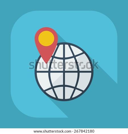 Flat modern design with shadow globe - stock photo