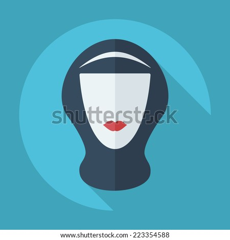 Flat modern design with shadow icons for web design and mobile applications, SEO. search Engine Optimization: eastern woman in niqab - stock photo