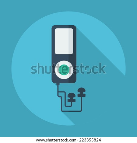 Flat modern design with shadow icons for web design and mobile applications, SEO. search Engine Optimization: mp3 player - stock photo