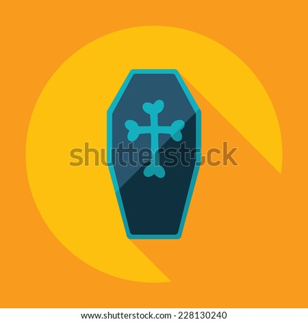 Flat modern design with shadow, SEO. Icons mobile applications and web design. Working optimization:  coffin - stock photo