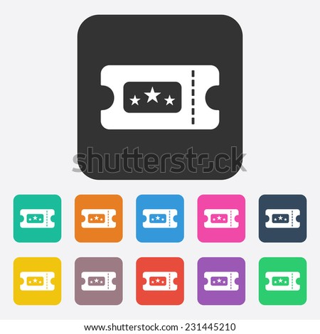 Flat modern design with shadow, SEO. Icons mobile applications and web design. Working optimization:  ticket to the cinema - stock photo