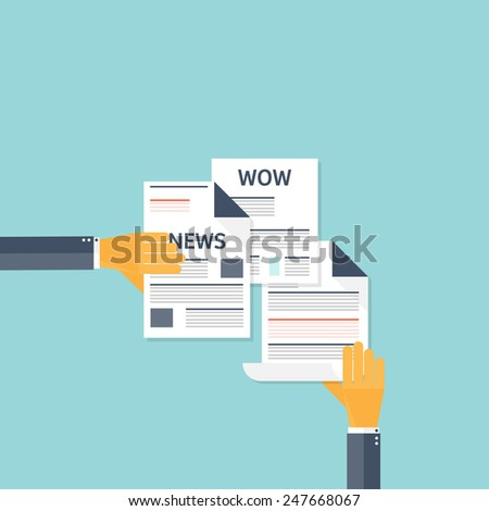 Flat newspapers. News and mass media concept background. Global communication.
